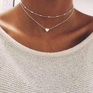 Silver Sweetheart Layered Necklace